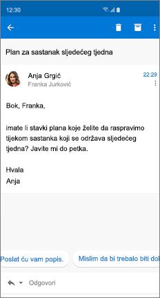 Poruka e-pošte s dva predložena odgovora