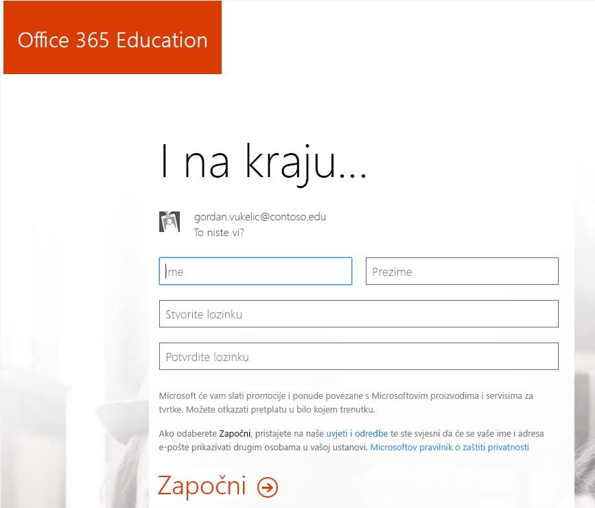 Snimka zaslona s prikazom stranice za stvaranje lozinke prilikom postupka registracije za Office 365.
