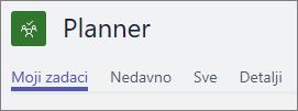 Prikaz aplikacije Planner na servisu Teams; prikazane su samo kartice