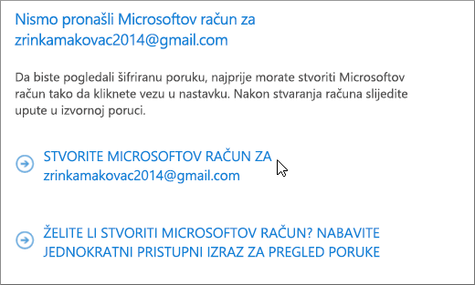 Stvaranje Microsoftova računa