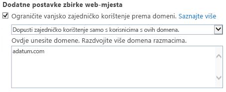 Snimka zaslona s ograničenom domene dio dijaloški okvir Postavke zbirke web-mjesta.