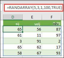 Funkcija RANDARRAY s argumentima Minimalno, Maksimalno i Cijeli broj
