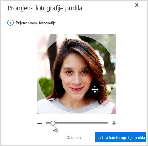 Kliknite i povucite unutar kruga da biste promijenili položaj ili se poslužite klizačem ispod fotografije da biste je zumirali.