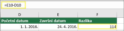 Ćelija D10 s vrijednošću 1/1/2016, ćelija E10 s vrijednošću 4/24/2016, ćelija F10 s formulom: =E10-D10 i rezultatom 114