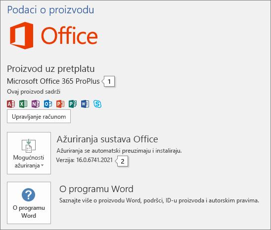 Snimka zaslona stranice Račun s prikazanim nazivom proizvoda sustava Office i cijelim brojem verzije
