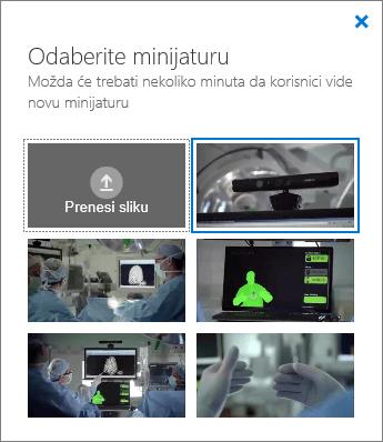 Snimka zaslona na kojoj se prikazuje okno Odaberite minijaturu.