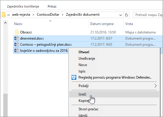 Desnom tipkom miša kliknite i odaberite Izreži da biste premjestili datoteke