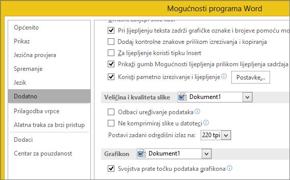 Mogućnosti veličine i kvalitete slike u programu Word