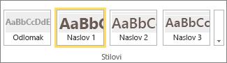 Snimka zaslona koja prikazuje grupu Stilovi na vrpci sustava SharePoint Online u kojoj je odabran stil Naslov 1.