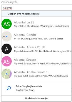 Predložena mjesta se nude putem servisa Bing