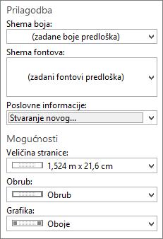 Snimka zaslona programa Publisher Prilagodba i mogućnosti odabira.
