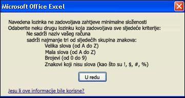 Poruka o pogrešci koja se prikazuje ako lozinka ne ispunjava kriterij minimalne složenosti
