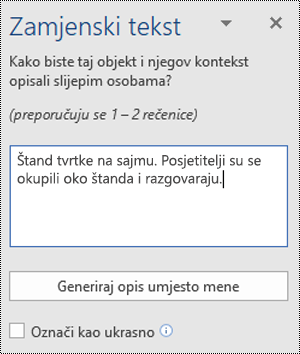 Dijaloški okvir Alternativni tekst u programu Word za Windows