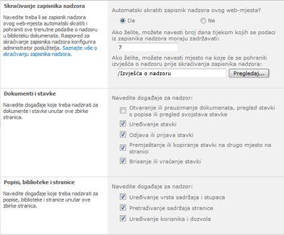Stranica za konfiguraciju postavki nadzora