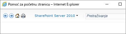 Zaglavlje okna pomoći sustava SharePoint 2010