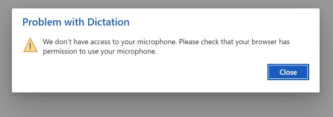 Dijaloški okvir pogreške za pristup mic-u