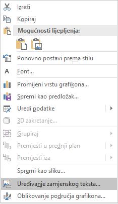 Excel Win32 uređivanje izbornika zamjenski tekst za grafikone