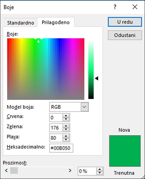 Odabir boja u Office aplikacijama. U odjeljku RGB polja nalazi se novo polje za unos vrijednosti boje Hex.