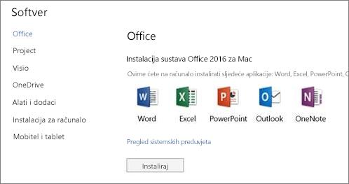 Postavke za Office 365 – zaslon za instalaciju softvera na Mac