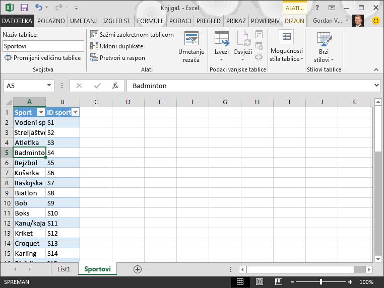 Imenujte tablicu u programu Excel