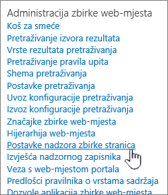 Web-mjesta postavke nadzora zbirke stranica odabrane u dijaloškom okviru Postavke web-mjesta.
