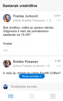 Novo sučelje za razgovor u programu Outlook za iOS