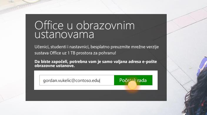 Snimka zaslona s prikazanom stranicom Početak rada prilikom prijave.