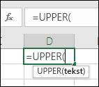 Snimka zaslona s prikazanom alatnom trakom s referencama za funkciju
