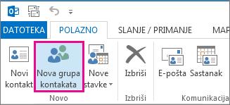 Kliknite Nova grupa kontakata na kartici Polazno