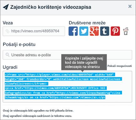 Primjer korištenja koda za ugrađivanje radi ugrađivanja sadržaja na stranicu sustava SharePoint
