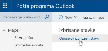 Snimka zaslona s gumbom Oporavi izbrisane stavke.