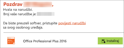 Pokazuje gumb Instaliraj u e-pošti od programa Home Use Program