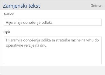 Snimka zaslona dijaloškog okvira s poljima Naslov i Opis u programu Word Mobile.