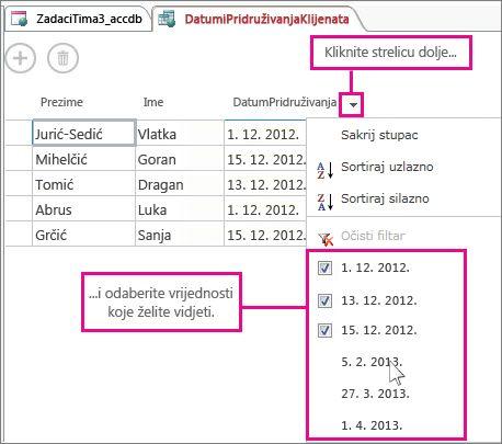 Filtriranje stupca u upitu aplikacije programa Access.