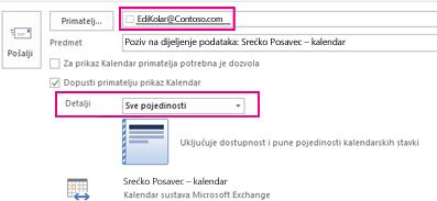 Poziv za zajedničko korištenje poštanskog sandučića e-poštu kao vanjski – okvir i detalje o postavka