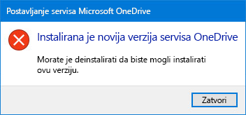 Pop-up pogreške na servisu OneDrive
