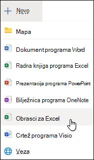 Mogućnost Umetanje obrasca za Excel u programu Excel za web
