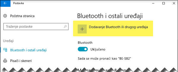 Dodavanje Bluetooth uređaja