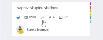 Ikona komentara na kartici zadatak