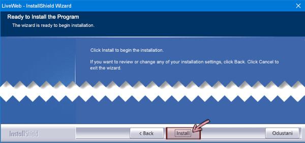 Kada su sve mogućnosti utvrđene, započnite instalaciju.