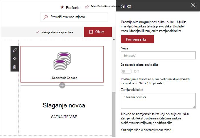 Ogledni unos web-dijela slike za moderno pružanje web-mjesta u sustavu SharePoint Online