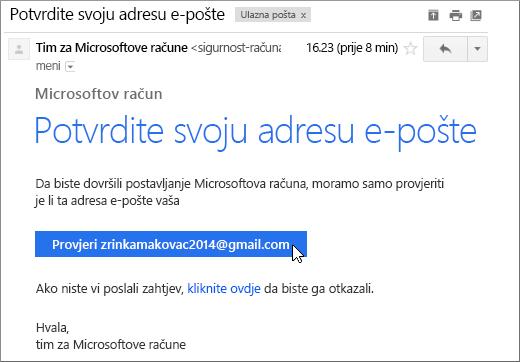 Potvrda adrese e-pošte