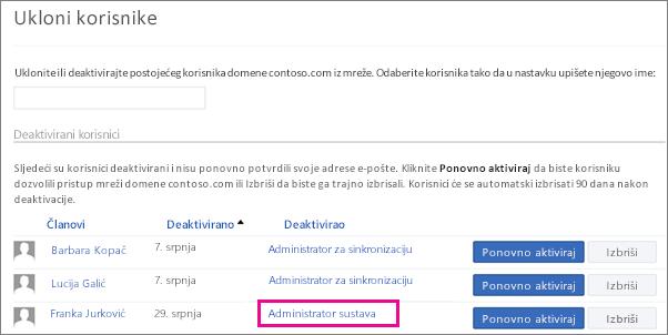 Snimka zaslona koja prikazuje kako administrator sustava uklanja korisnika.
