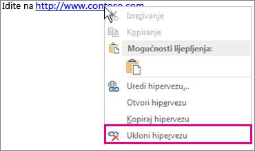 Izbornik dostupan klikom na desnu tipku miša; Ukloni hipervezu