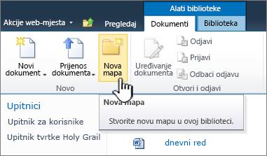 Vrpca dokumenata sustava SharePoint 2010 s istaknuta je nove mape