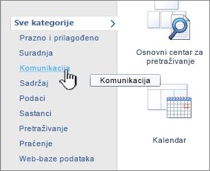 Kliknite kategoriju, a zatim odaberite željenu aplikaciju popisa