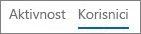 Snimka zaslona prikaza Korisnici u izvješću o aktivnosti na servisu Yammer u sustavu Office 365