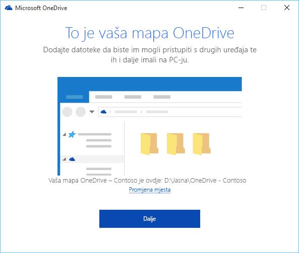 Snimka zaslona na kojoj je prikazan zaslon Ovo je vaša mapa servisa OneDrive u čarobnjaku Dobro došli u OneDrive