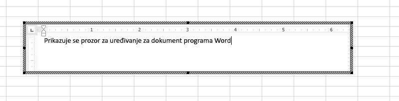 Ugrađeni dokument programa Word možete urediti izravno u programu Excel.