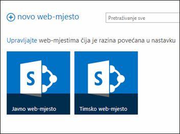 Stranica web-mjesta sustava Office 365 na kojoj su prikazane pločice timskog web-mjesta i javnog web-mjesta